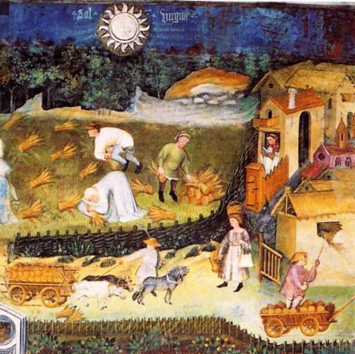 Agosto, la mietitura – affreschi del Castello del Buonconsiglio, Trento (fine XIV secolo).