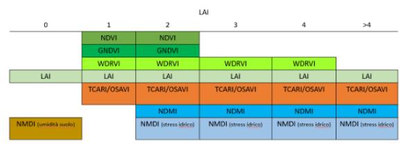tabella indici di vigoria e LAI